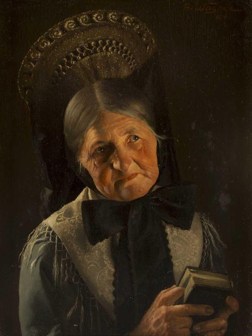 ALBERT WAGNER 1816 Stuttgart - 1867 ebenda Portrait einer Frau in festtäglicher schwäbischer Tracht - photo 2