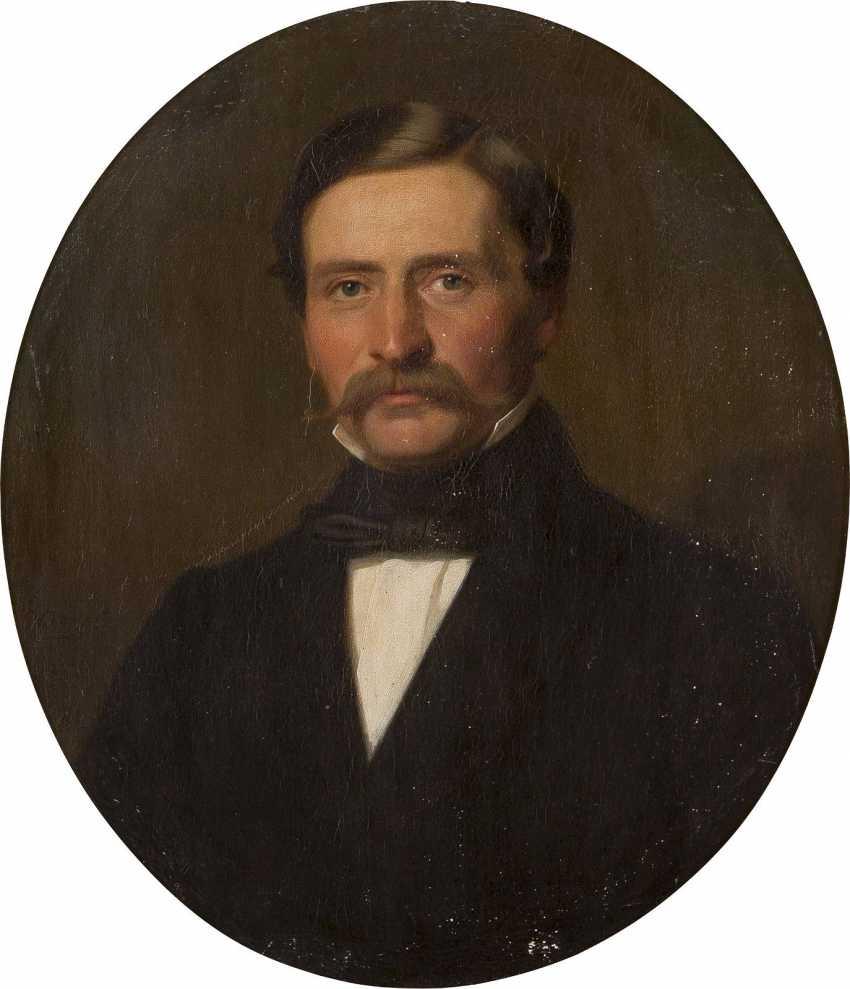 WILHELM GEORG VOLKHART 1815 Herdecke - 1876 Düsseldorf Portraitpaar: Edler Herr (1); Feine Dame (2) - photo 1