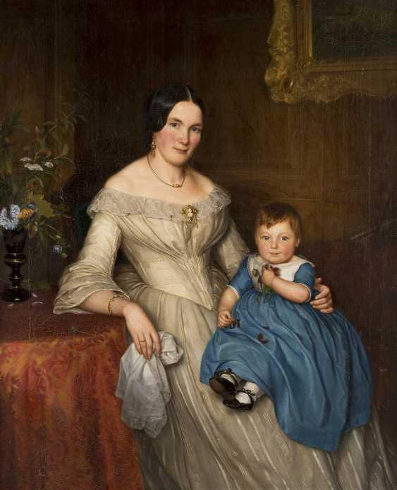 DEUTSCHER PORTRÄTMALER Tätig 1. Hälfte 19. Jahrhundert (wohl Berlin) Biedermeier Familienporträt: Mutter mit Kind - photo 1