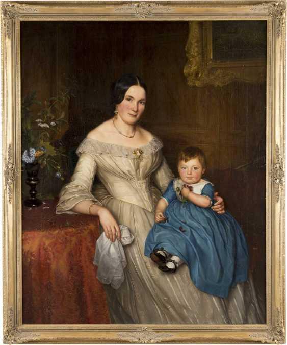 DEUTSCHER PORTRÄTMALER Tätig 1. Hälfte 19. Jahrhundert (wohl Berlin) Biedermeier Familienporträt: Mutter mit Kind - photo 2