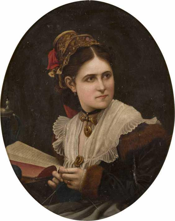 DEUTSCHER PORTRÄTIST Tätig um 1900 Junges Mädchen mit Strickgarn - photo 1