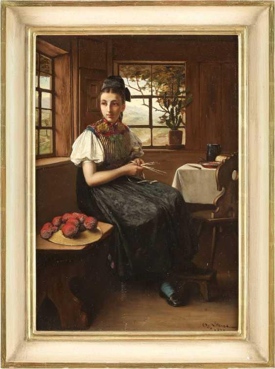 SÜDDEUTSCHER GENREMALER Tätig um 1870 Junges Mädchen in schwarzwälder Tracht - photo 2