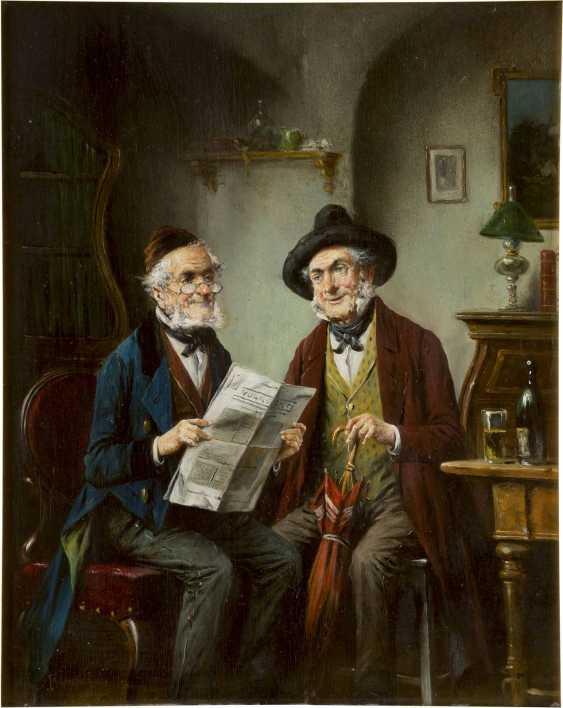 LAJOS KOLOZSVARY 1871 - 1937 Zwei Herren bei der Zeitungslektüre - photo 1