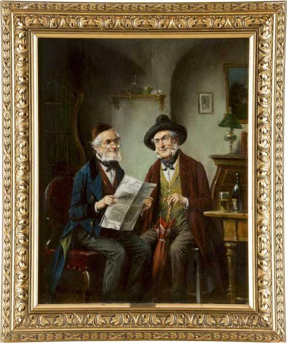 LAJOS KOLOZSVARY 1871 - 1937 Zwei Herren bei der Zeitungslektüre - photo 2