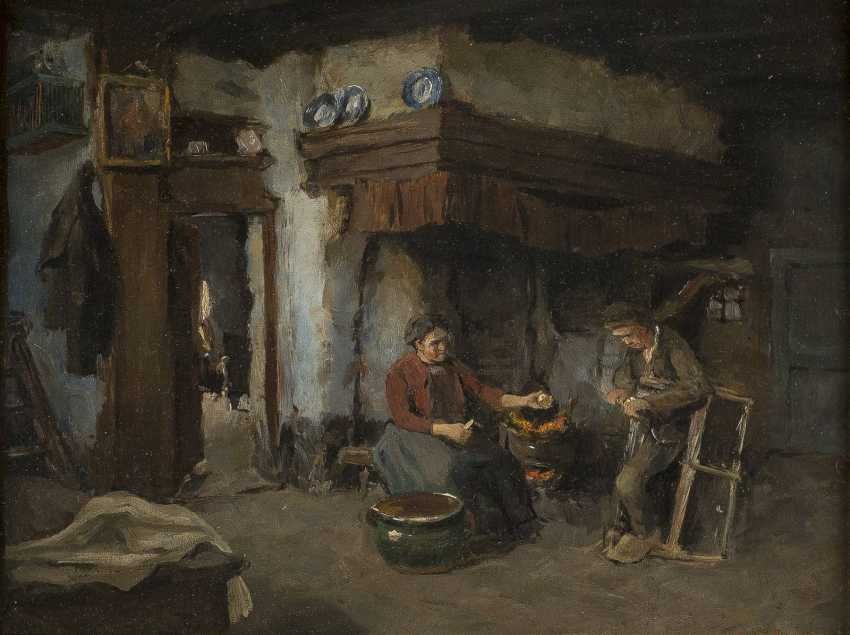 CARL HAVER Tätig in Düsseldorf - um 1900 INTERIEURSZENE - BAUERNPAAR IN DER KÜCHE - photo 1
