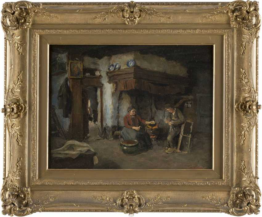 CARL HAVER Tätig in Düsseldorf - um 1900 INTERIEURSZENE - BAUERNPAAR IN DER KÜCHE - photo 2