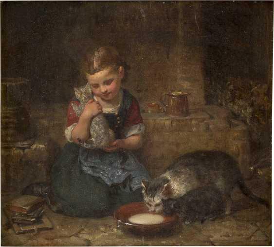MINNA HEEREN 1823 Hamburg - 1898 Ebenda Mädchen mit Katzen - photo 1