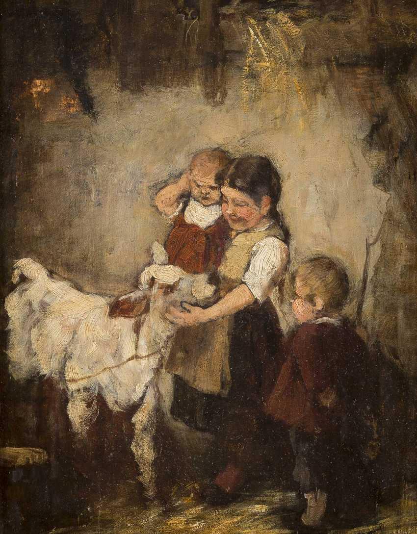 JOSEF THEODOR MORODER-LUSENBERG (ATTR.) 1846 - 1939 Kinder mit Kälbchen - photo 1