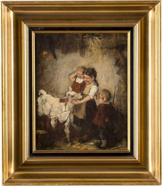 JOSEF THEODOR MORODER-LUSENBERG (ATTR.) 1846 - 1939 Kinder mit Kälbchen - photo 2