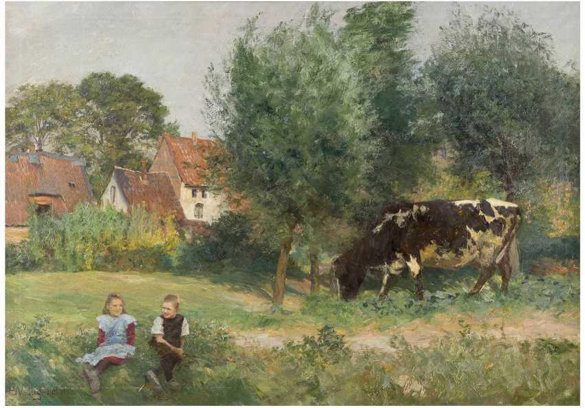 HEINRICH WETTIG 1875 Bremen - nach 1938 / tätig in Düsseldorf 'Abendsonne' (Landschaft mit Kuh) - photo 1