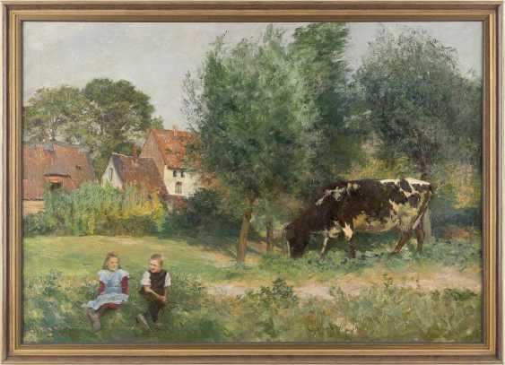 HEINRICH WETTIG 1875 Bremen - nach 1938 / tätig in Düsseldorf 'Abendsonne' (Landschaft mit Kuh) - photo 2