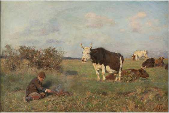 MARIA THERESIA VON HABSBURG-LOTHRINGEN 1855 Heubach - 1944 Wien Junger Kuhhirt auf der Weide mit seiner Herde 5 - photo 1