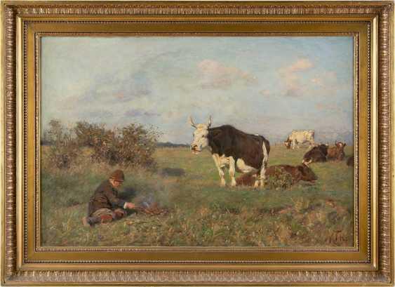 MARIA THERESIA VON HABSBURG-LOTHRINGEN 1855 Heubach - 1944 Wien Junger Kuhhirt auf der Weide mit seiner Herde 5 - photo 2