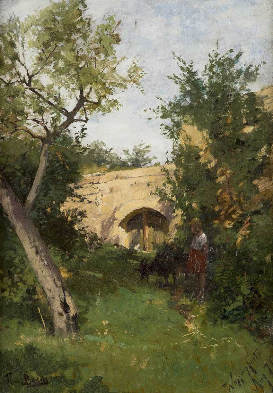 HANS VON BARTELS 1856 - 1913 Landschaft mit junger Ziegenhirtin - photo 1