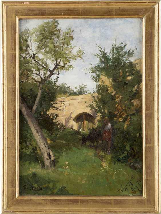 HANS VON BARTELS 1856 - 1913 Landschaft mit junger Ziegenhirtin - photo 2
