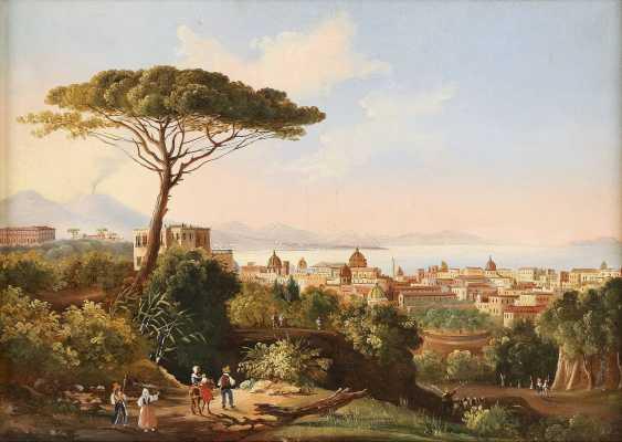 ITALIENISCHER LANDSCHAFTSMALER Tätig um 1900 Blick auf die Bucht von Neapel - photo 1