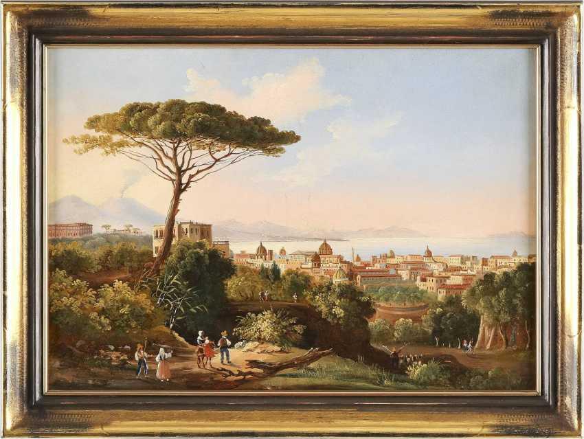 ITALIENISCHER LANDSCHAFTSMALER Tätig um 1900 Blick auf die Bucht von Neapel - photo 2