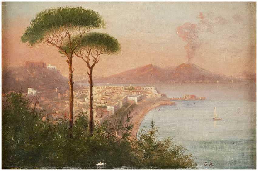 OSWALD ACHENBACH (KOPIE NACH) 1827 Düsseldorf - 1905 ebenda Blick auf den Vesuv am Golf von Neapel - photo 1