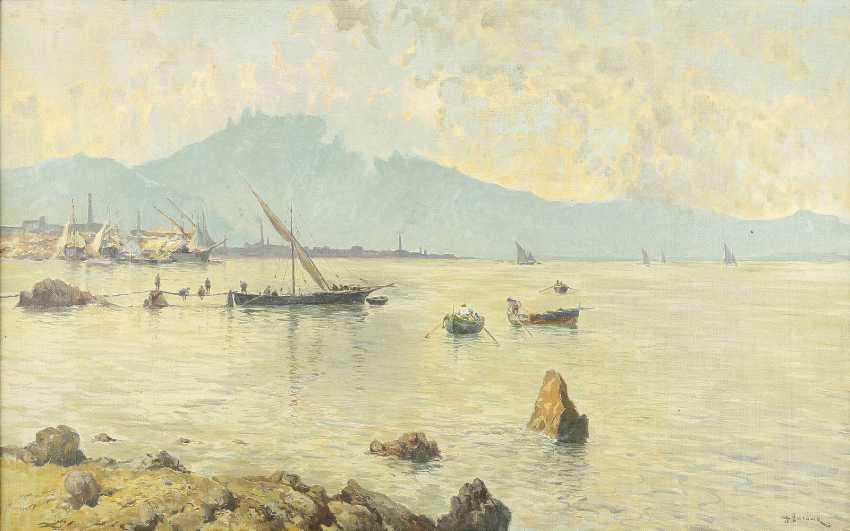 ANTONIO BARONE 1889 Valle Dolmo / Palermo - 1971 New York Segelschiffe in italienischem Hafen - photo 1
