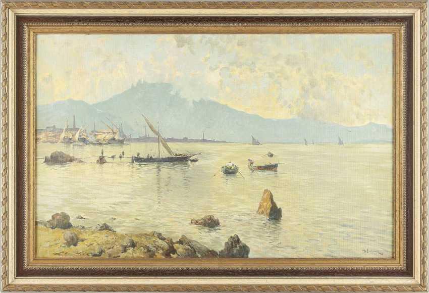 ANTONIO BARONE 1889 Valle Dolmo / Palermo - 1971 New York Segelschiffe in italienischem Hafen - photo 2