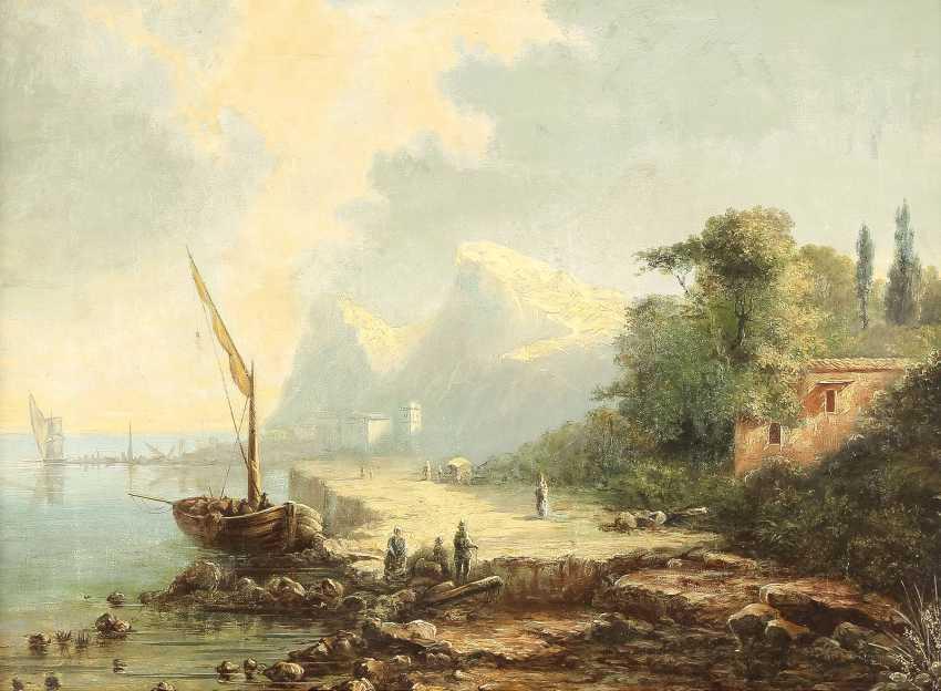 SÜDDEUTSCHER LANDSCHAFTSMALER Tätig 2. Hälfte 19. Jahrhundert Italienische Küstenlandschaft - photo 1