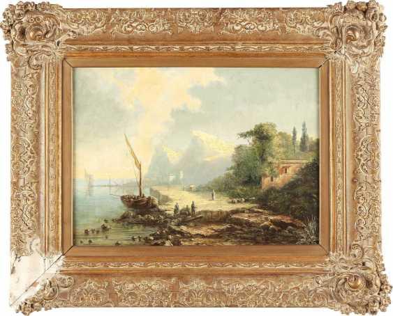 SÜDDEUTSCHER LANDSCHAFTSMALER Tätig 2. Hälfte 19. Jahrhundert Italienische Küstenlandschaft - photo 2