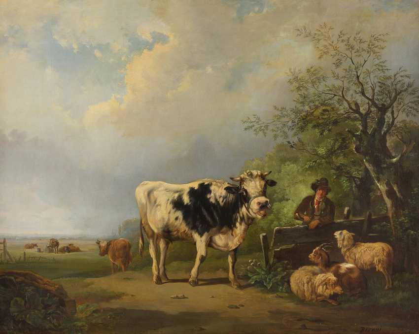 BIRONI Tätig 2. Hälfte 19. Jahrhundert Hirte mit Schafen, Kuh und Ziege - photo 1