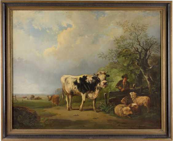 BIRONI Tätig 2. Hälfte 19. Jahrhundert Hirte mit Schafen, Kuh und Ziege - photo 2
