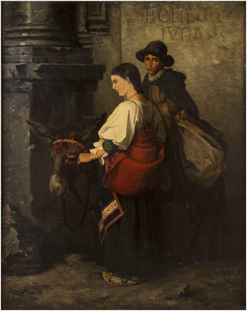 ITALIENISCHER GENREMALER Tätig 2. Hälfte 19. Jahrhundert Zwei arme Reisende mit Maultier - photo 1
