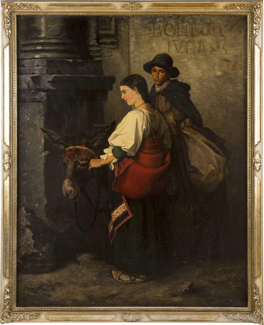 ITALIENISCHER GENREMALER Tätig 2. Hälfte 19. Jahrhundert Zwei arme Reisende mit Maultier - photo 2