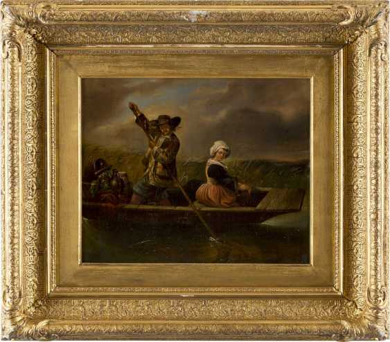 ITALIENISCHER GENREMALER Tätig 2. Hälfte 19. Jahrhundert Die Überfahrt - photo 2