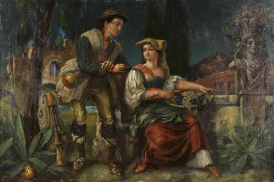 FRITZ GÜSSL Tätig 2. Hälfte 19. Jahrhundert Italienisches Paar vor antiker Staffage - photo 1