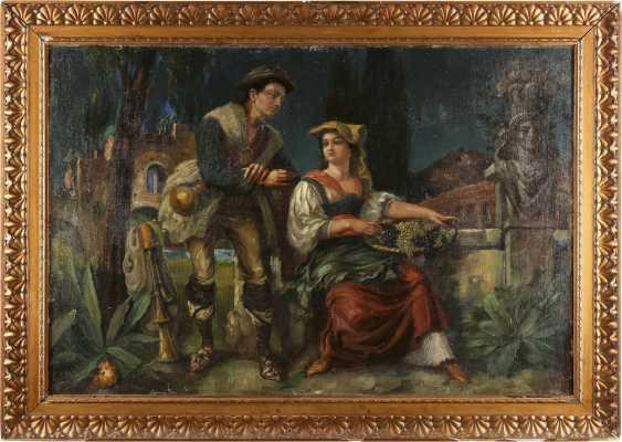 FRITZ GÜSSL Tätig 2. Hälfte 19. Jahrhundert Italienisches Paar vor antiker Staffage - photo 2