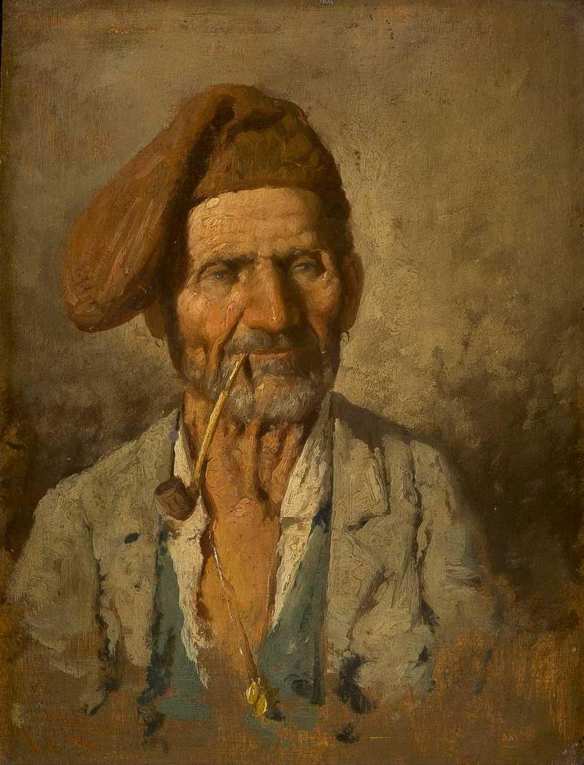 ITALIENISCHER GENREMALER Tätig 1. Hälfte 20. Jahrhundert Pfeifenraucher - photo 1