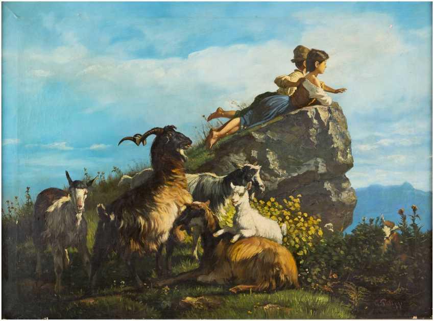 GIUSEPPE PALIZZI (ATTR.) 1812 Lanciano - 1888 Paris Ziegenherde und zwei Kinder in Betrachtung - photo 1