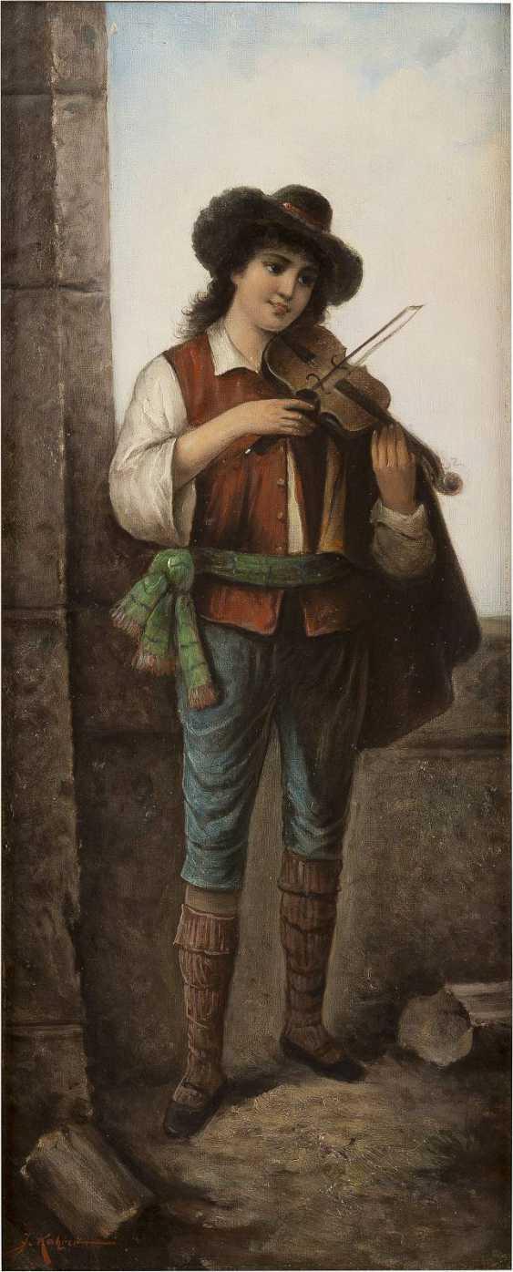 J. KATZNER Tätig um 1900 Gemäldepaar: Italienischer Geiger (1) und Gitarrenspielerin (2) - photo 1