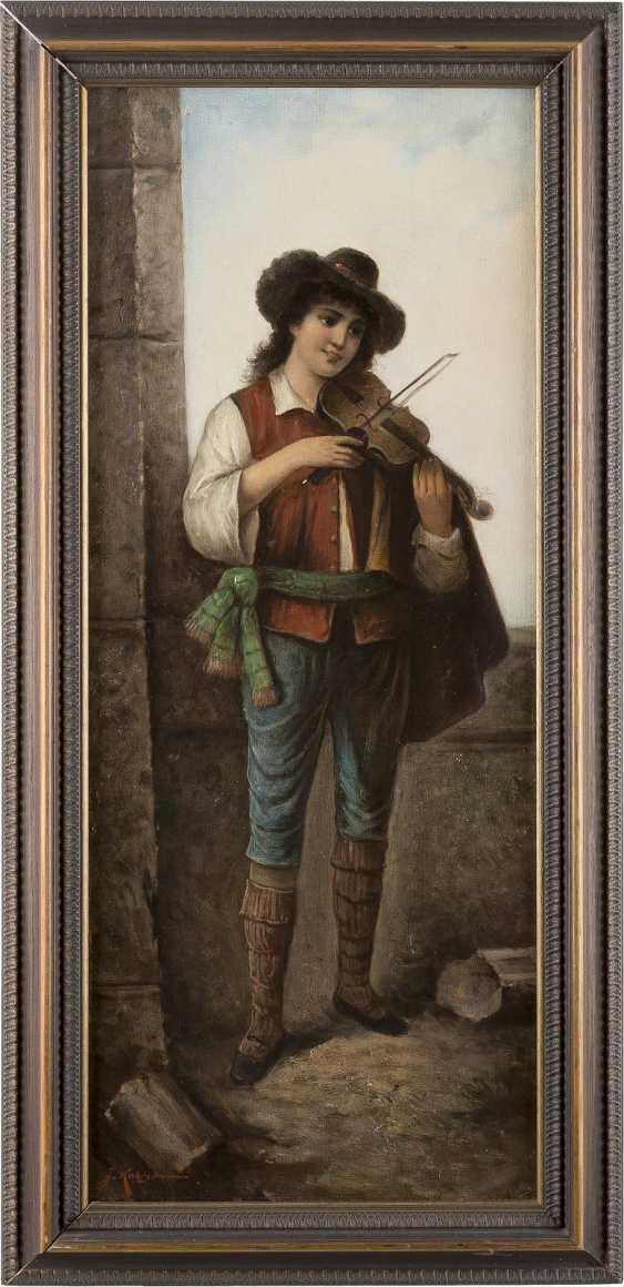J. KATZNER Tätig um 1900 Gemäldepaar: Italienischer Geiger (1) und Gitarrenspielerin (2) - photo 2