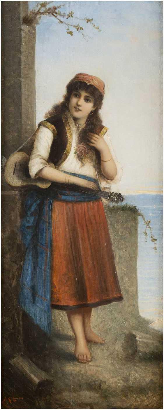J. KATZNER Tätig um 1900 Gemäldepaar: Italienischer Geiger (1) und Gitarrenspielerin (2) - photo 3