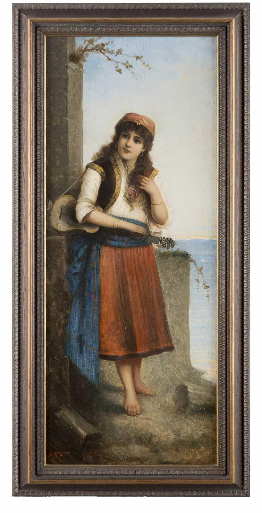 J. KATZNER Tätig um 1900 Gemäldepaar: Italienischer Geiger (1) und Gitarrenspielerin (2) - photo 4