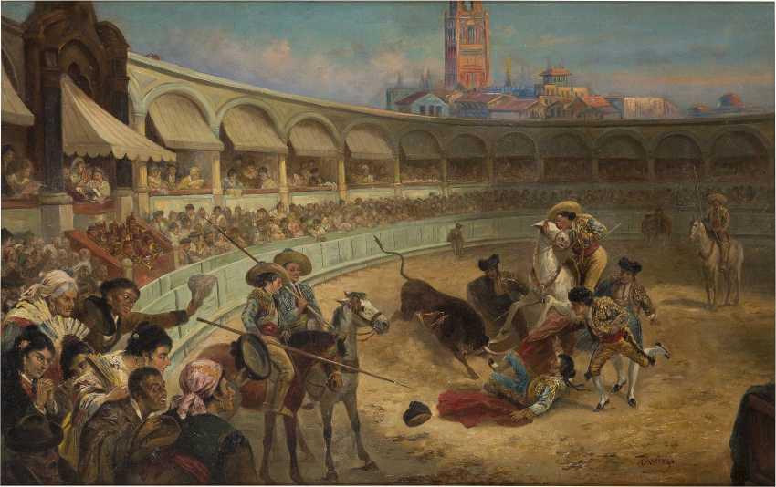 T. ARRIEGO Tätig 1. Hälfte 20. Jahrhundert In der Stierkampfarena - photo 1