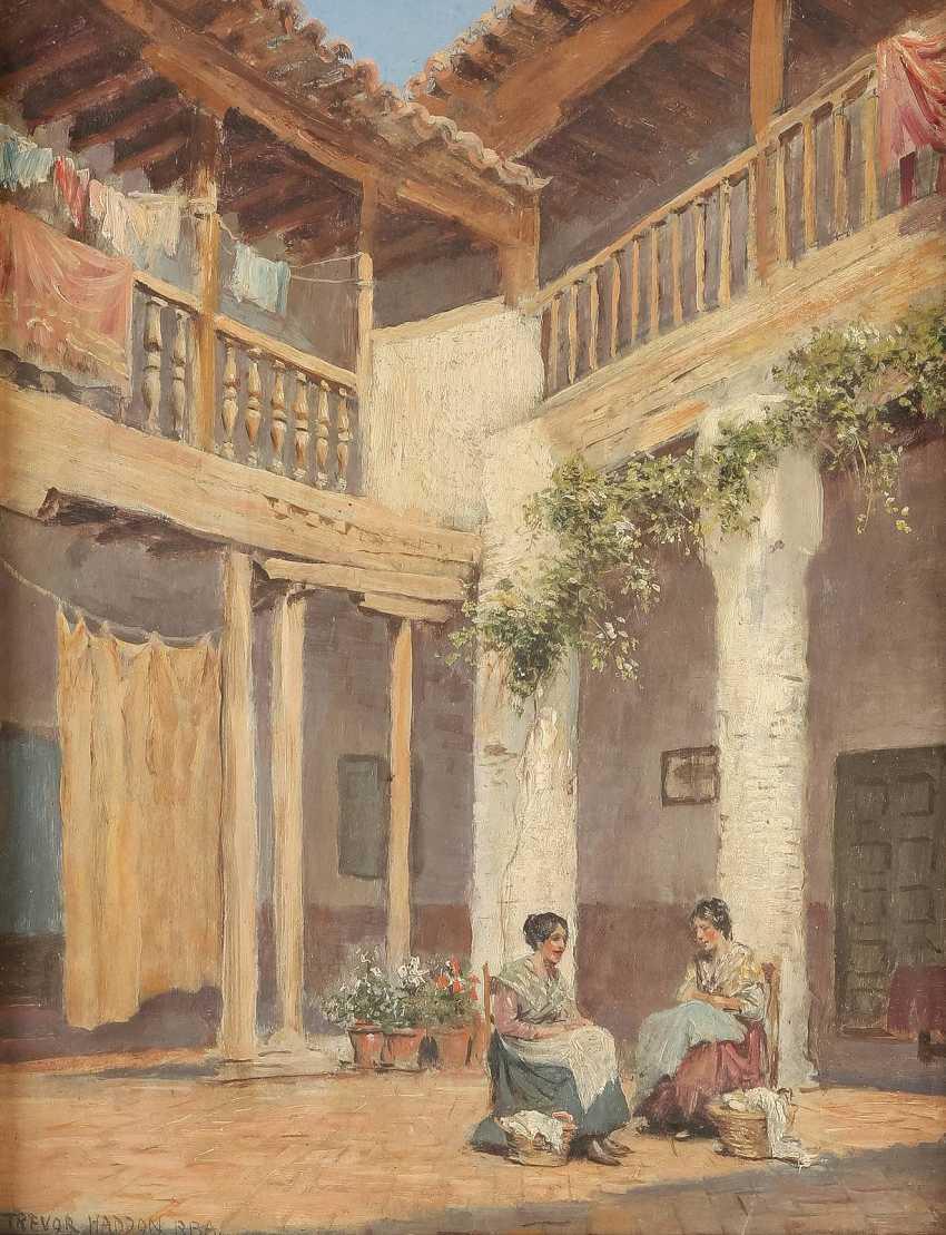 ARTHUR TREVOR HADDON 1864 - 1941 Zwei Spanierinnen bei der Wäsche im sonnigen Innenhof - photo 1