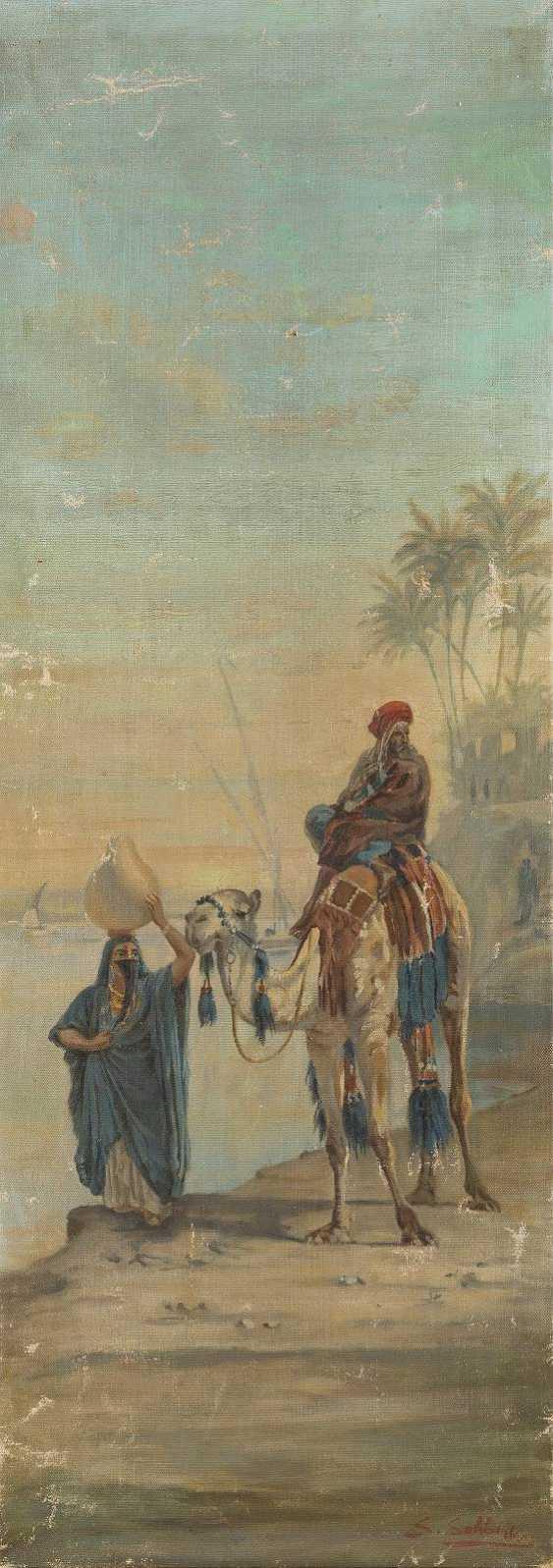 ORIENTALISTEN DES 19./20. JH. Zwei Orientmotive: Kamelreiter mit Wasserträgerin nach Symeon Sabbides (1); Wüstenstadt signiert 'Scheler' (2) - photo 2