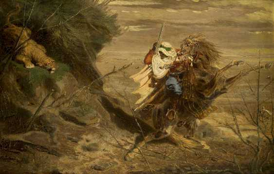 OTTO CLEMENS FIKENTSCHER 1831 Aachen - 1880 Düsseldorf Araber im Kampf mit einem angreifenden Löwen - photo 1