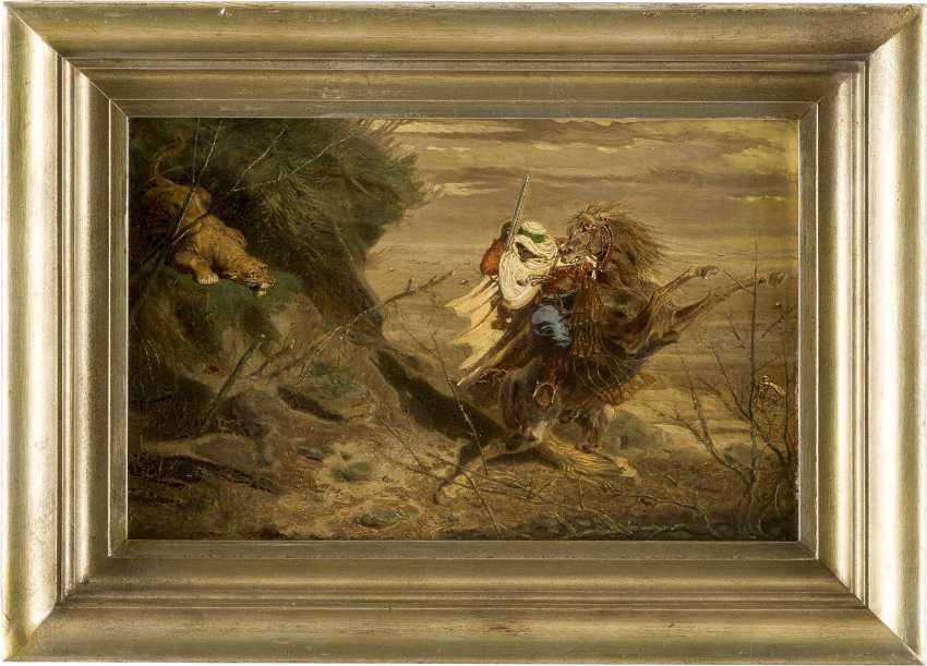 OTTO CLEMENS FIKENTSCHER 1831 Aachen - 1880 Düsseldorf Araber im Kampf mit einem angreifenden Löwen - photo 2