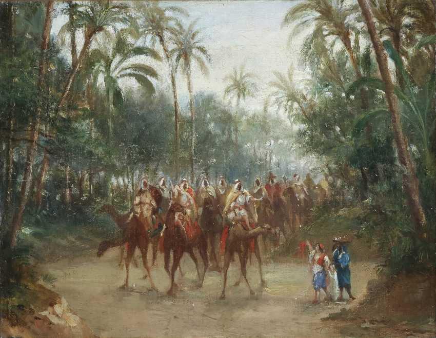 ORIENTALIST Tätig 2. Hälfte 19. Jahrhundert Karawane hält Einzug in der Oase - photo 1