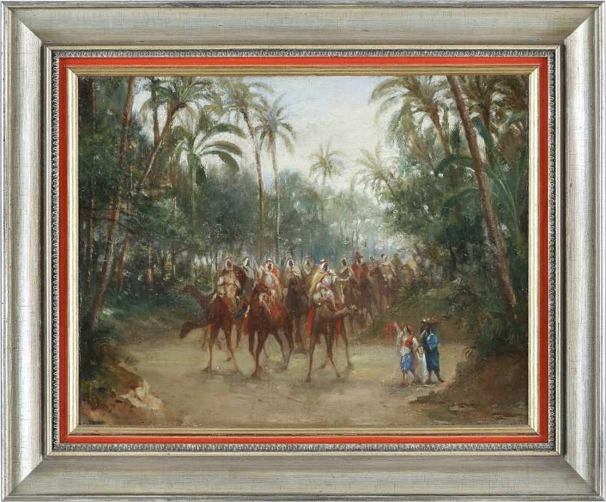 ORIENTALIST Tätig 2. Hälfte 19. Jahrhundert Karawane hält Einzug in der Oase - photo 2