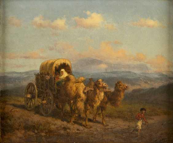 ORIENTALIST Tätig 2. Hälfte 19. Jahrhundert Zwei Kamele ziehen einen Karren - photo 1