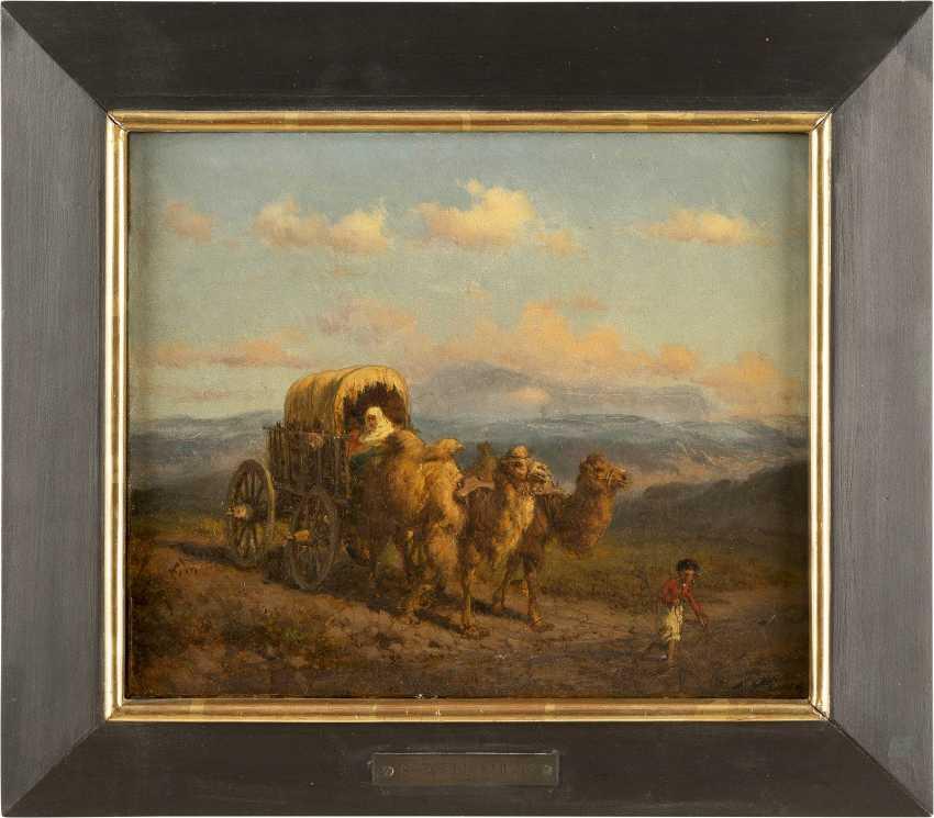 ORIENTALIST Tätig 2. Hälfte 19. Jahrhundert Zwei Kamele ziehen einen Karren - photo 2