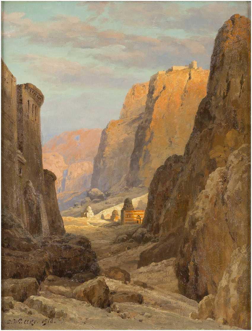 CARL WUTTKE 1849 Trebnitz (Schlesien) - 1927 München. Blick auf das Katharinenkloster am Fuße des Berges Sinai - photo 1