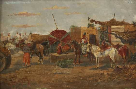 VIORSKY Tätig 1. Hälfte 20. Jahrhundert Zwei Genreszenen mit Kosaken: Bei der Dressur (1); Auf dem Markt (2) - photo 1
